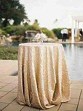 BLUELSS 48'' Runde Champagner Pailletten Tischdecke Kuchen Tabelle Pailletten Tischdecke Tischdecken Großhandel Pailletten Pailletten Bettwäsche, 90 in Runde Champagner