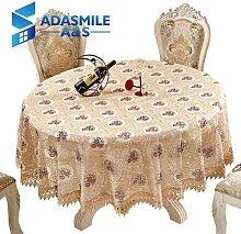 BLUELSS Adasmile Häkeln Floral Elegante runde Spitze Tischdecke Tischdecke Tischdecke Overlays für Banqute Hochzeitsfeier DecorationbeigeR 180 cm