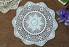 BLUELSS Neue weiße Spitze Baumwolle Häkeln tischdecke Neues Jahr Tischdecke mantel Nappe runde Tisch decken Weihnachten Hochzeit decorRedRound 30 cm