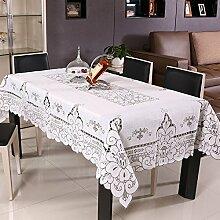 BLUELSS Tischdecke weiß Toalha De Mesa Spitze Nappe gedruckt Casamento hohlen Floral Tafelkleed Häkeln Tischdecken Hochzeit Dekoration 110 cm x 110 cm
