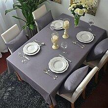 BLUELSS Toalhas De Mesa Mantel neue Ankommen Soild Farbe Tischdecken Leinen Tischdecke für Hochzeit Table Cover Home DecorationDark Grau 140 * 180 cm.