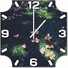Blümchen, Design Wanduhr aus Alu Dibond zum Aufhängen, 48 cm Durchmesser, schmale Zeiger, schöne und moderne Wand Dekoration, mit qualitativem Quartz Uhrwerk