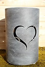 Bluemelhuber Metall Windlicht Herz Grau Antik