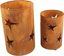 Bluemelhuber Metall Windlicht Sterne 2er Set Rost