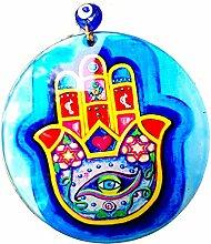 Bluenoemi Glücksbringer Glas Hamsa Hand Wand