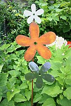Blüte auf Stab 118cm Edelrost Optik Figur Beetstecker Dekoration Metall Garten