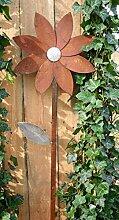 Blüte auf Stab 79cm Edelrost Optik Figur Beetstecker Dekoration Metall Garten Artikelzustand: Neu