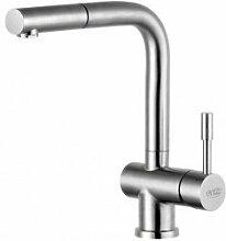 Bluewater Hochdruckarmatur Corsa–Inox Küche Spüle Armatur aus Edelstahl (gebürstet) mit ausziehbarem Auslauf von–Grau (1)