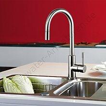 Bluewater LIMA INOX Edelstahl Massiv Küchenarmatur , Designer Küchenarmatur Spültischarmatur Blue Water Waschtischarmatur Waschbecken Einhebelmischer Hochdruckarmatur