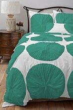 Blume aus Pouffe scalabedding Bettbezug mit passenden Kissenbezügen 450Ägyptische Baumwolle für King Size Bett/CAL & Farben weiß/blau blaugrün/grün