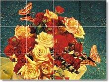 Blume Bild Badezimmer Fliesen Wand F018. 61x 81,3cm mit (12) 8x 8Keramik Fliesen.