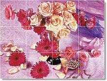 Blume Bild Keramik fliesenwandbild F016. 32,4x 43,2cm mit (12) 4,25x 4,25Keramik Fliesen.