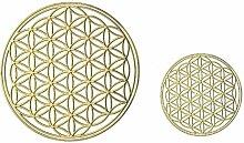 Blume des Lebens 3D-Metall-Aufkleber - EnerChrom Ø 3cm + Ø 5cm GOLD - 2 Größen im SET