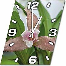 Blume, Design Wanduhr aus Alu Dibond zum Aufhängen, 30 cm Durchmesser, schmale Zeiger, schöne und moderne Wand Dekoration, mit qualitativem Quartz Uhrwerk