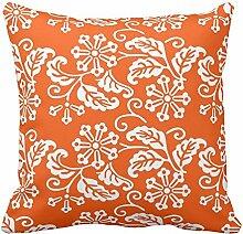 Blume Flower Leaf Blatt, orange und weiß Blumenmuster Werfen Kissenbezug Home Sofa dekorativen quadratisch, Colored, 40,6 x 40,6 cm (16 x 16 Zoll)