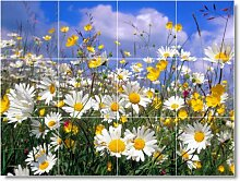 Blume Foto Küche fliesenwandbild F139. 32,4x 43,2cm mit (12) 4,25x 4,25Keramik Fliesen.