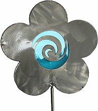 Blume Gartenstecker aus Edelstahl und Glas in Blau