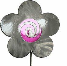 Blume Gartenstecker aus Edelstahl und Glas in Pink Blumenstecker Gartendeko