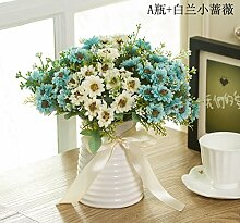 Blume Heimtextilien Aus Dekorativem Kunststoff Blumen Blumen Blumen Tabelle Tabelle Anzeigen Simulation Blume Restaurant, Weiß Blau Set Rose