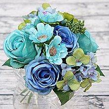 Blume Öl Malerei. Mailand Rose Braut Blumenstrauß Heimtextilien Hochzeit Dekorationen Blumen, Blau