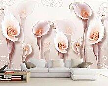 Blume Rosa 3D Tapeten -350Cmx250Cm Schöne Schön