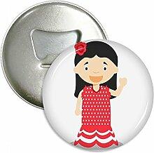Blume Rot Kleid Spanien Cartoon rund