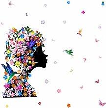 Blume Schmetterling Mädchen Wandaufkleber
