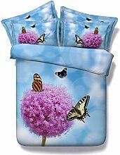 Blume Serie Heimtextilien Bettwäsche drei Arten (Schwarz/Hellblau/dunkelblau) Bettdecke Kissenbezug Bett Blatt 3/4 PC Kinder/Erwachsene