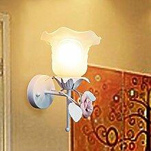 Blume Wandleuchte Bedside home Wohnzimmer minimalistischen Mode Spiegel vorne Lampe pastoralen Balkon Korridor, 3 Watt warme LED Glühbirne