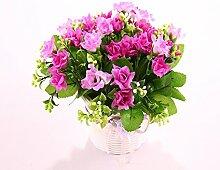 Blumen Blumen Blumen Garten Landung Simulation Kunststoff Silk Blume Rose Vase Ornamente Home Ausstattung Wohnzimmer Einrichtung, E