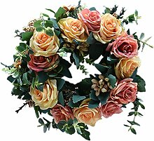 Blumen-Bouquet Dekoration, Tür-Kranz aus Rattan,