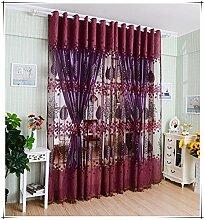 Blumen chiffon gedruckten unelastisch Polyester Lichtvorhang vertikale Jalousien, Fenster, 100 * 250cm, 1 Tafel , rubber red punch