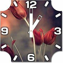 Blumen, Design Wanduhr aus Alu Dibond zum Aufhängen, 30 cm Durchmesser, breite Zeiger, schöne und moderne Wand Dekoration, mit qualitativem Quartz Uhrwerk