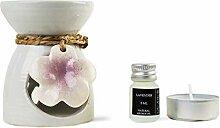 Blumen Duftlampe aus Keramik mit Lavendel Duftöl