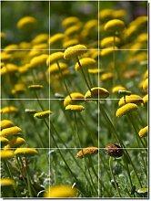 Blumen Foto Badezimmer Fliesen Wand 19. 61x 81,3cm mit (12) 8x 8Keramik Fliesen.