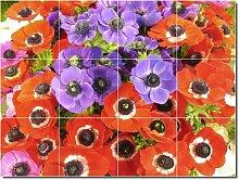Blumen Foto Badezimmer Fliesen Wand 22. 61x 81,3cm mit (12) 8x 8Keramik Fliesen.
