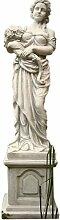 Blumen Frau mit Sockel, Skulptur aus Steinguss, Figur