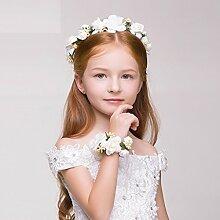 Blumen Kranz, Mädchen Haar Ornamente Stirnband Zubehör Kranz Kinder Prinzessin Kopfschmuck ( Farbe : Weiß )