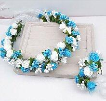 Blumen-Kranz, Stirnband-Blumen-Girlande-handgemachtes Hochzeits-Braut-Partei-Band-Stirnband Wristband Hairband ( Farbe : F )