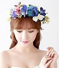 Blumen-Kranz, Stirnband-Blumen-Girlande-handgemachtes Hochzeits-Braut-Partei-Band-Stirnband Wristband Hairband ( Farbe : A )