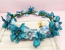Blumen-Kranz, Stirnband Blumen-Girlande Handgemachtes Hochzeits-Braut-Partei-Band-Stirnband Wristband Hairband Lila / Weiß ( Farbe : D )