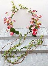Blumen-Kranz, Stirnband-Blumen-Girlande-handgemachtes Hochzeits-Braut-Partei-Band-Stirnband Wristband Hairband ( Farbe : C )