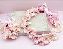 Blumen-Kranz, Stirnband Blumen-Girlande Handgemachtes Hochzeits-Braut-Partei-Band-Stirnband Wristband Hairband Blau / beige ( Farbe : B )