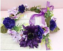 Blumen-Kranz, Stirnband-Blumen-Girlande-handgemachtes Hochzeits-Braut-Partei-Band-Stirnband Wristband Hairband ( Farbe : E )
