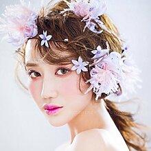 Blumen-Kranz, Stirnband-Blumen-Girlande-handgemachtes Hochzeits-Braut-Partei-Band-Stirnband Wristband Hairband ( Farbe : Lila )