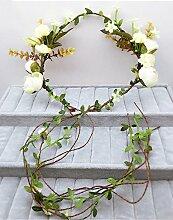 Blumen-Kranz, Stirnband-Blumen-Girlande-handgemachtes Hochzeits-Braut-Partei-Band-Stirnband Wristband Hairband Beige ( Farbe : A )