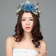 Blumen-Kranz, Stirnband-Blumen-Girlande-handgemachtes Hochzeits-Braut-Partei-Band-Stirnband Wristband Hairband Blau / Rot / Weiß ( Farbe : Blau )