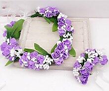Blumen-Kranz, Stirnband-Blumen-Girlande-handgemachtes Hochzeits-Braut-Partei-Band-Stirnband Wristband Hairband Blau / Rosa / Purpur ( Farbe : Lila )
