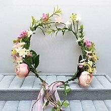 Blumen-Kranz, Stirnband-Blumen-Girlande-handgemachtes Hochzeits-Braut-Partei-Band-Stirnband Wristband Hairband ( Farbe : D )