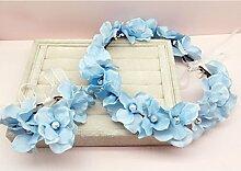 Blumen-Kranz, Stirnband Blumen-Girlande Handgemachtes Hochzeits-Braut-Partei-Band-Stirnband Wristband Hairband Blau / beige ( Farbe : A )